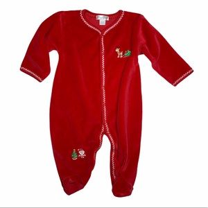 Kissy Kissy Christmas footie - 6-9 months